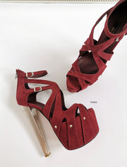 Burgundy Suede Cage Metallic Ankle Heels - Tajna Club