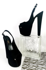 Black Suede Slingback High Heels - Tajna Club