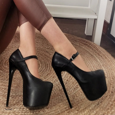 Black Matte Mary Jane Heels - Tajna Club