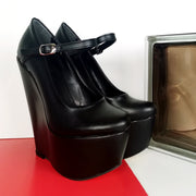 Black Mary Jane Wedge Shoes - Tajna Club