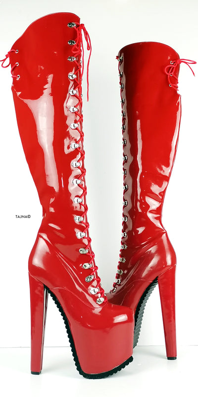 Serrated Sole Red Military Lace Up Knee High Boots - Tajna Club