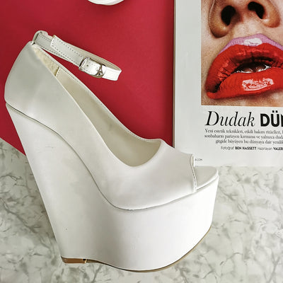 White Ankle Strap Peep Toe Wedges - Tajna Club