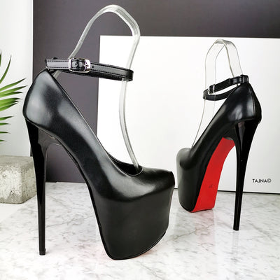 Black Matte Ankle Strap High Heels - Tajna Club