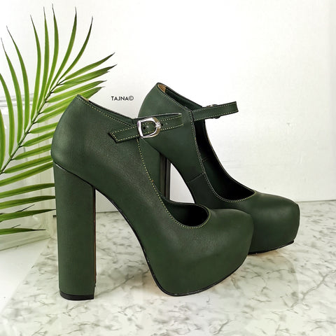 Dark Green 13 cm Chunky Heel Mary Jane Heels - Tajna Club
