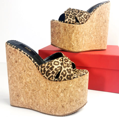 Cork Leopard Cross Strap Wedge Mules - Tajna Club