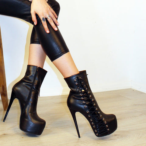 Black Corset Style High Heel Ankle Boots - Tajna Club
