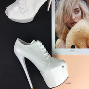White Patent Oxford Ankle Platforms - Tajna Club