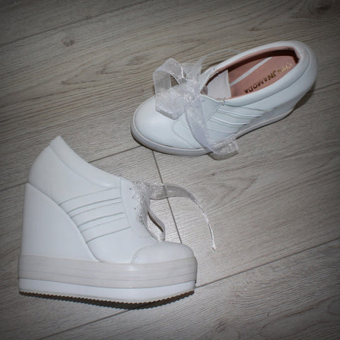 White Lace Up Sport Platform Wedges - Tajna Club