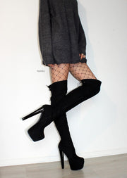 Black Suede  Over Knee High Platform Boots - Tajna Club