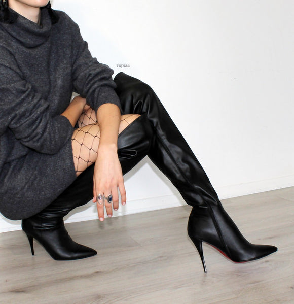 Black Pointed Nose Over Knee Heel Boots - Tajna Club