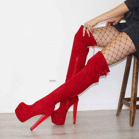 Red Suede Over Knee Platform Boots - Tajna Club