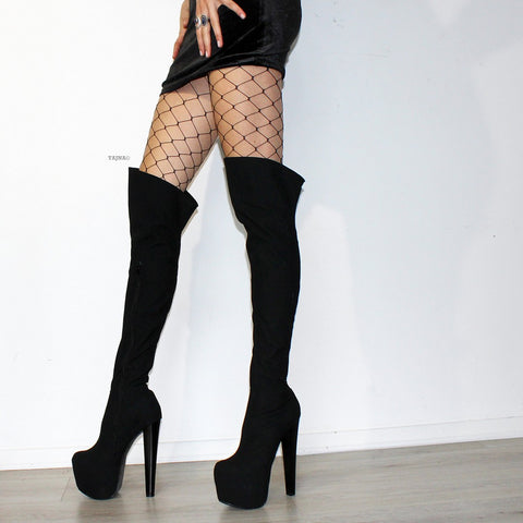 Black Suede 19 cm Knee High Platform Boots - Tajna Club