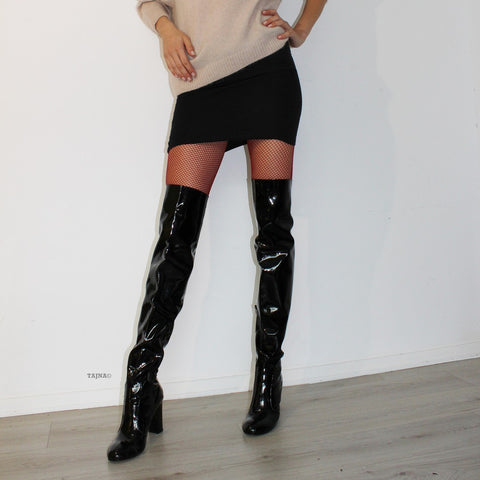 Black Patent Leather Strech Over Knee Heel Boots - Tajna Club