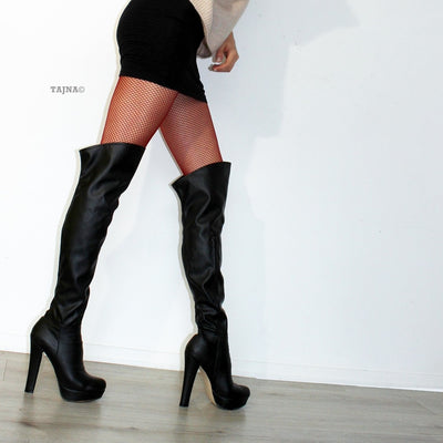 Strech Black  Knee High Platform Boots - Tajna Club