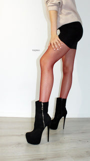 Black Suede Zipper Platform Boots - Tajna Club