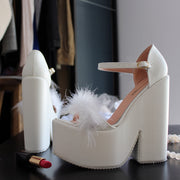 Bridal White Fury High Heel Wedding Wedges - Tajna Club