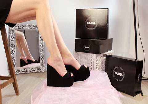 Black Suede Peep Toe  Wedge Platform Mules - Tajna Club