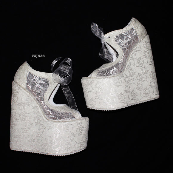 Full Lace White Platform 20 cm Wedges - Tajna Club