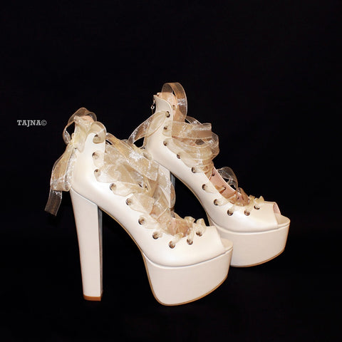 Ballerinas Lace Up Chunky White Platform Heels - Tajna Club