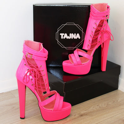 Neon Pink Lace Up Super High Heel Platform Shoes - Tajna Club