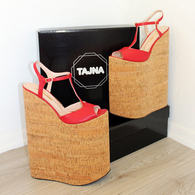 30 cm Super High Heel Show Platforms Light Red Wedge - Tajna Club