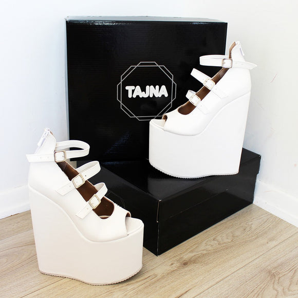 Belted White Peep Toe Wedged Platform Shoes - Tajna Club