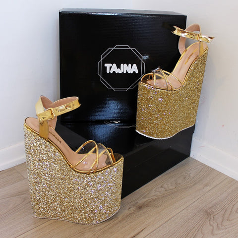 30 cm Gold Shiny Platforms High Heeles Wedge - Tajna Club