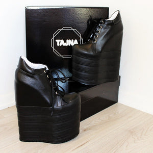 Lace Up Black Super High Heel Wedge Platforms - Tajna Club