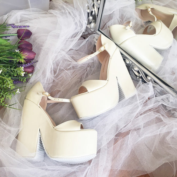 Ivory Cream High Heel Wedge Platform Wedding Shoes - Tajna Club