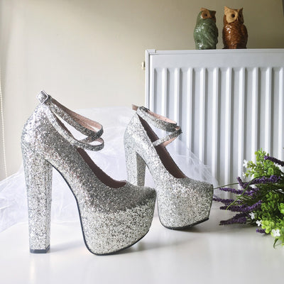 Silver Shimmer Glitter High Heel Platform Shoes - Tajna Club