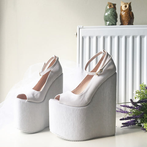 White Suede Ankle Strap Peep Toe High Heel Wedge Platform Shoes - Tajna Club