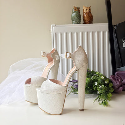 White Bridal Shimmer Glitter High Heel Platform Shoes - Tajna Club