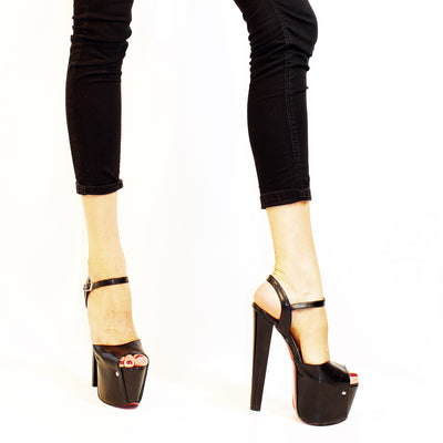 Black Peep Toe Open Back Platform Heels 19 cm - Tajna Club