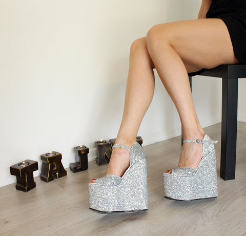 Silver Glitter Shiny Ankle Strap Wedges - Tajna Club