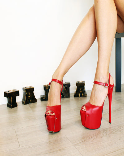 Red Ankle Strap High Heel Platforms - Tajna Club