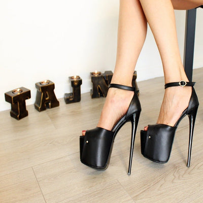19 cm Black Peep Toe High Heel Platforms - Tajna Club