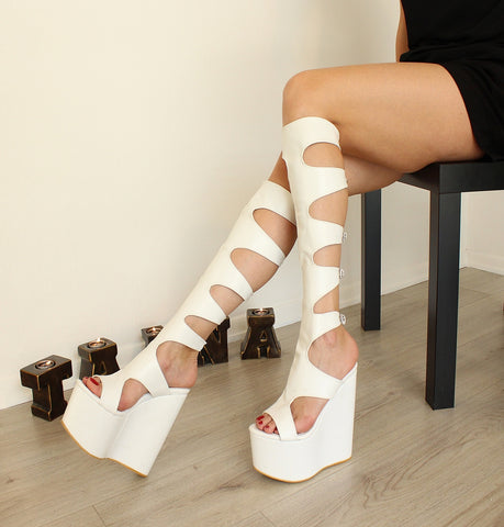 White Gladiator High Heel Wedge Boots - Tajna Club
