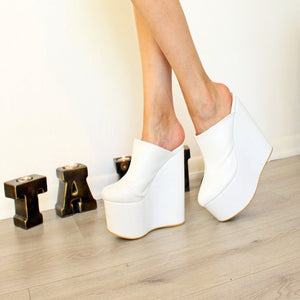 Sabo White 16-17 cm High Heel Platform Wedge Mules - Tajna Club