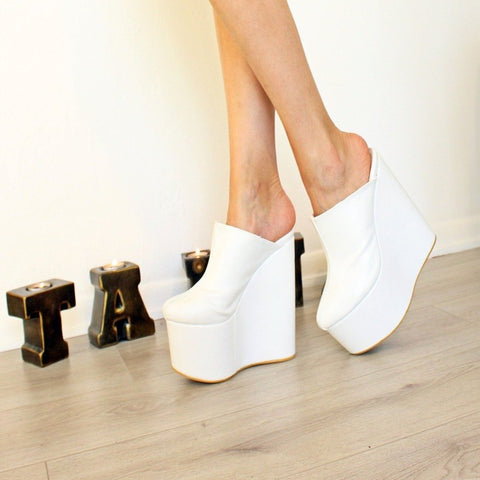 Sabo White 16 cm High Heel Platform Wedge Mules - Tajna Club