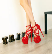 Red Suede Cage 18-19 cm High Heel Platform Shoes - Tajna Club