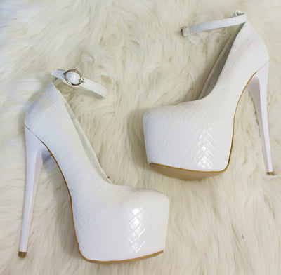 White Croco Ankle Strap High Heel Platform Shoes - Tajna Club