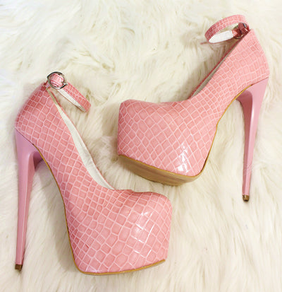 Croco Light Pink Ankle Strap  High Heel Platform Shoes Bridal - Tajna Club