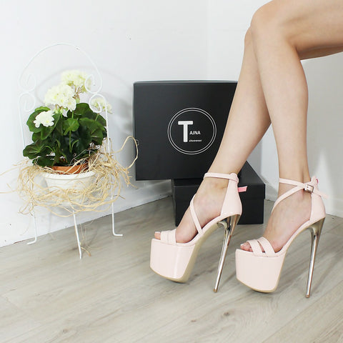 Powder Pink Patent Cross Strap 19 cm High Heel Sandals - Tajna Club