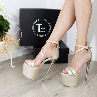 Golden Double Strap 19-20 cm Platform Sandals - Tajna Club
