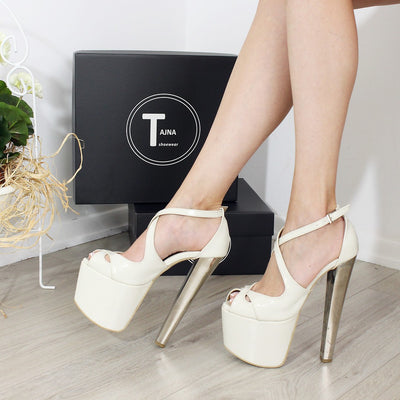 19-20 cm Silver Heel Cream Cross Platforms - Tajna Club