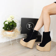 Black Peep Toe Platform High Heel Wedge Booties - Tajna Club