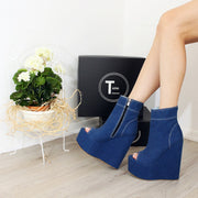 Jean Demin Peep Toe Platform Heel Wedge Booties - Tajna Club