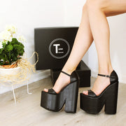 Ankle Strap Black Platform Heel Wedge Sandals - Tajna Club