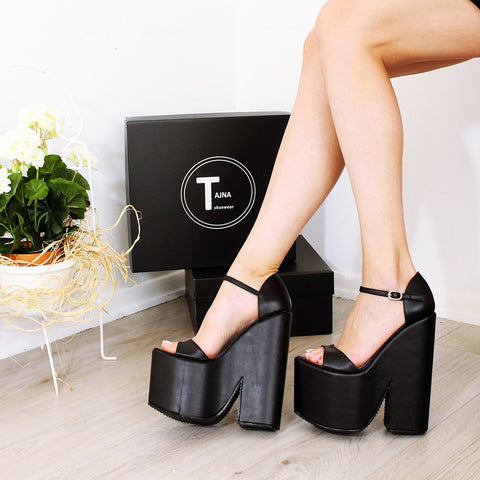 42b8e382bffe Ankle Strap Black Platform Heel Wedge Sandals – Tajna Club