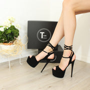 Black Faux Suede Lace Up High Heel Sandals - Tajna Club